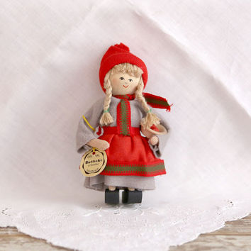 Vintage Butticki Doll from Sweden, Girl Doll with red hat, Gray Dress, Red Apron, Apples in Bowl
