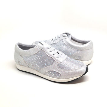 Silver Color Mesh Sneaker with Rhinestone Detail