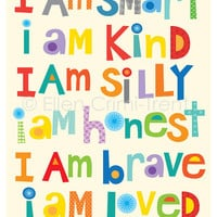 Kids Wall Art- I am kind I am brave I am smart