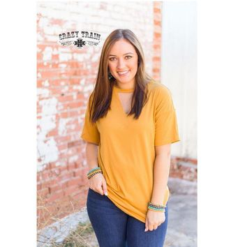 Textline V-Neck Top In Mustard By Crazy Train