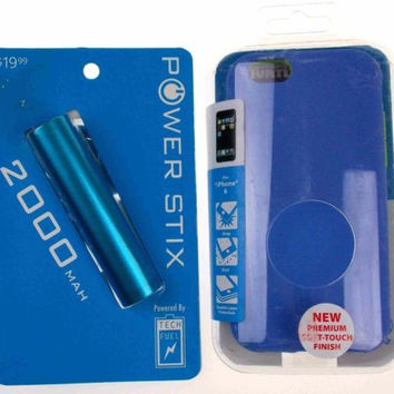 Blue Cell Phone Case iPhone 6 Soft Touch 2000mAh External Backup Battery Charger