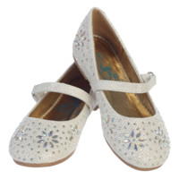 Ivory Glitter Flats Dress Shoes with Iridescent Stone Beading  (Toddler & Girls Sizes)