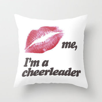 Kiss me, I'm a cheerleader Throw Pillow by RexLambo | Society6