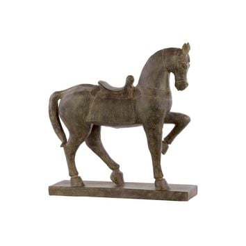 Resin Horse With Saddle Figurine Espresso Brown