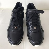 Chanel Black Logo Leather Lace Up Sneaker Tennis Trainers Sneakers Size EU 39 (Approx. US 9) Regular (M, B)