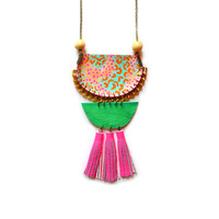 Wood Geometric Hot Pink Statement Necklace in Peach Orange and Green,Tassel Necklace, Rope Jewelry | Boo and Boo Factory - Handmade Leather Jewelry