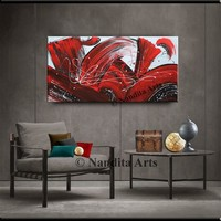 Red Black Minimalist Abstract Painting on Canvas, Contemporary Art, Modern Wall Art Office Decor, Artwork by Nandita 48x24in/122x61cm