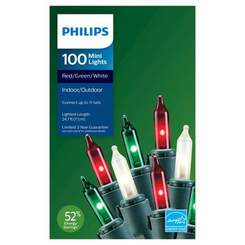 Philips Mini Lights Red/Green/White 100ct