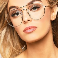 GOLD ROUND BROW BAR GLASSES