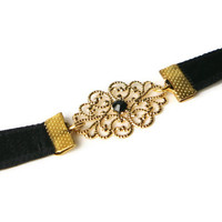 Elastic Black Waist Belt - Silver Or Gold Filigree Element Set With Black Swarovski - Bridesmaids Belt - Stretch Belt - Skinny Belt