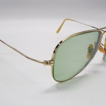 1960s Vtg Ray-ban Aviator Shooter Rx Sunglasses 12k 1/10 B&L GF USA 56mm 5823