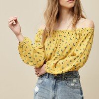 LA Hearts Long Sleeve Button Front Off-The-Shoulder Top at PacSun.com