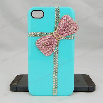 Bow case pink bow  bling iphone 6 case iphone 6 case iphone 5S 5c iphone 4 case samsung galaxy s4 case note3 s3 case bling crystal