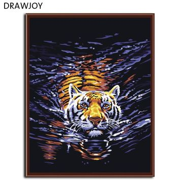 DRAWJOY Tiger Framed Pictures DIY Painting By Numbers On Canvas Acrylic Painting Wall Art Home Decor 40x50