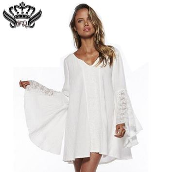 Spring Women Vintage Dress For Hippie Boho Bell Long Sleeve Gypsy Festival Casual White Plus Size Loose Lace Mini Dress