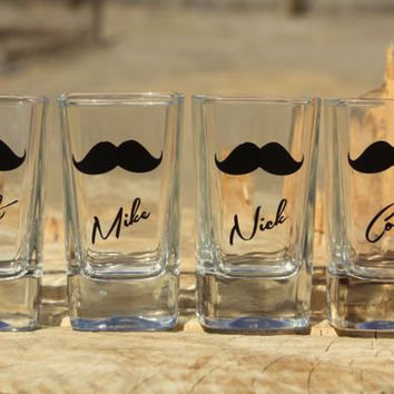 4 Personalized shot glasses. Great for bachelor and wedding parties. Custom mustache shot glasses.