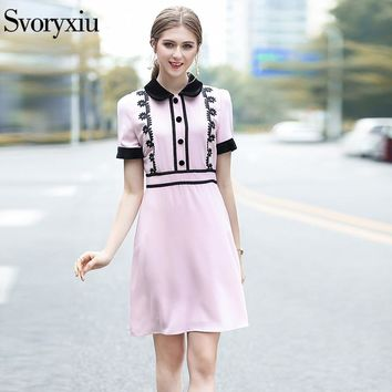 Svoryxiu 2018 Runway Women's Summer Pink Dress Chic Velvet Turn Down Collar Floral Floral Slim A Line High Street Dresses