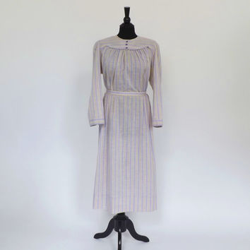 Size Large Vintage 1950s 60's Blue Purple Striped Folk Floral Cotton House Dress Long sleeve Shirt Dress Day House Dress Country Frock