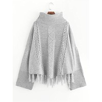 Oversized Turtle Neck Tassel Hem Sweater