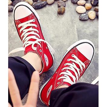 """""""Converse"""" Trending Women Men Stylish High-toe Canvas Flats Sneakers Sport Shoes Red I/A"""