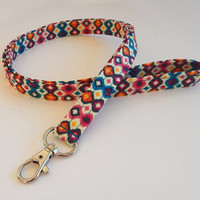 Retro Lanyard / Pink and Turquoise / Abstract Keychain / Retro Accessories / Key Lanyard / ID Badge Holder / Fabric Lanyard / Cute Lanyard