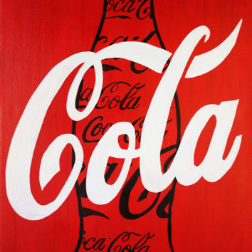 "ART Coca-Cola Modern Coke Black Bottle White, Red Contemporary Modern Painting Pop Art 24""x36"" Acrylic on Canvas By Kathleen Artist Pro"