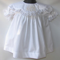 Baby white dress, Baptism Monogram Dress for infants baby girl,Christening Dress, FREE Personalization sz 3M,6M,18M,2T
