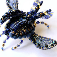Dark Blue Beetle with Lapis Lazuli - bead embroidered brooch. Nature jewelry, insect jewelry, beetle jewelry