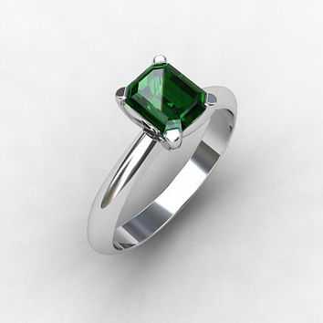 Green tourmaline ring, White gold, emerald cut, engagement ring, green, tourmaline engagement, solitaire, white gold, custom