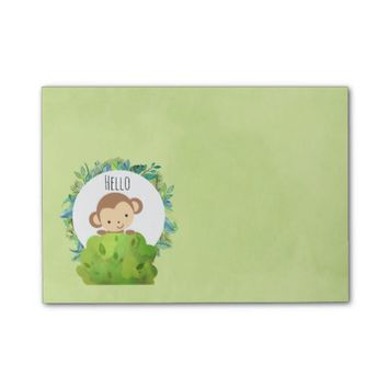 Cute Monkey Peeking Out from Behind a Bush Post-it® Notes