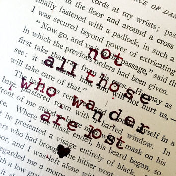 Vintage Book Page, Vintage Wall Art, Vintage Page Quotes, Not All Those Who Wander Are Lost, Recycled Book Page, Stamped Wall Art