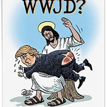 WWJD With Trump Birthday' Big Greeting Card - What Would Jesus Do to President Donald Trump - Funny Happy Bday Greetings - Free Shipping