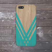 Teal Chevron x Wood Design Case for iPhone 6 6+ iPhone 5 5s 5c iPhone 4 4s and Samsung Galaxy s5 s4 & s3