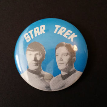 Vintage Star Trek Kirk and Spock Button Pin Pinback Paramount Pictures 1966 Great Retro Style