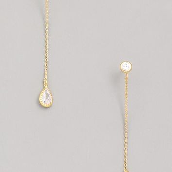 Dainty Gold Chain Thread Earrings