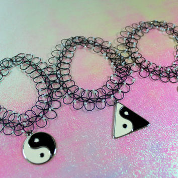 Sale 90s Vtg Ying Yang Tattoo Beaded Choker. Club Kids. Select Your Style.