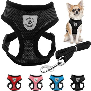 Breathable Mesh Small Dog Harness and Leash