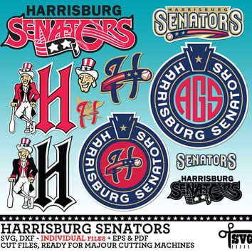 Harrisburg Senators Monogram Frames. Individual Digital Vector Cut Files. SVG, dxf, eps, pdf for Silhouette, Cricut vinyl Die Cutting CF-95