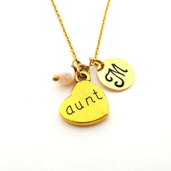 Aunt Necklace - Gold Initial Necklace - Birthstone Necklace - Initial Disc Necklace - Personalized Necklace - Aunt Charm