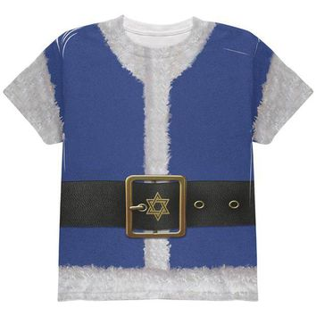 DCCKIS3 Christmas Hanukkah Jewish Santa Claus Costume All Over Youth T Shirt