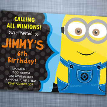 Despicable Minion Colorful Chalkboard Polka Dot Birthday Party Invitation Card Design