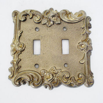Vintage Light Switch Cover  Mid Century Brass Light Switch Cover Shabby Chic Light Switch Plate Vintage Ornate Brass Light Switch Cover