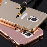 S5 Capa Metal Aluminum Frame+ Mirror Plating Case For Samsung Galaxy S5 i9600 Luxury Hybrid Hard Armor Protective Fashion Cover