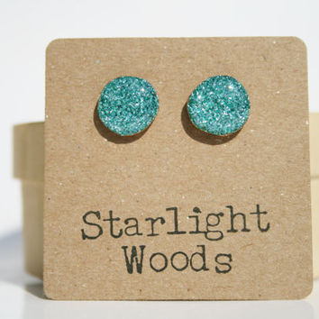 Aqua sparkle studs post earrings aqua sparkle summer jewelry eco fashion wood earrings Minimalist jewelry  eco friendly eco fashion