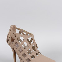 Qupid Grid Cage Ankle Bootie