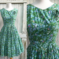 The Artists Garden Dress / 1960s Floral Cotton Day Dress / 60s Fit n' Flare