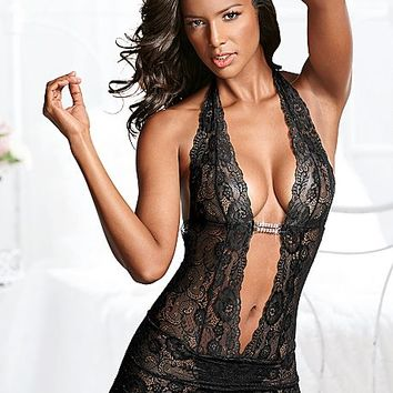 Deep V Sheer Lace Negligee by VENUS