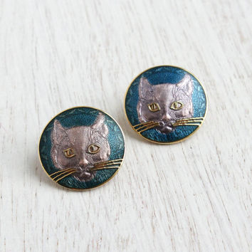 Vintage Cat Clip On Earrings - 1980s Round Purple Kitty Costume Jewelry / Long Whiskers
