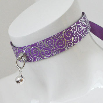 Kitten play collar - Forbidden nights - ddlg princess collar BDSM proof adult - purple violet petplay pet play costume necklace with bell
