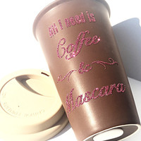 Coffee and Mascara Glitter Coffee Mug - To Go Coffee Cup - Travel Coffee Mug - Pink Glitter
